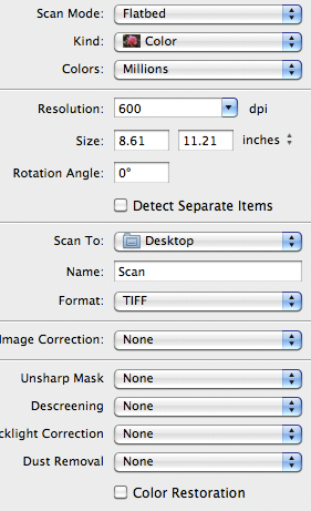 Default Image Capture settings